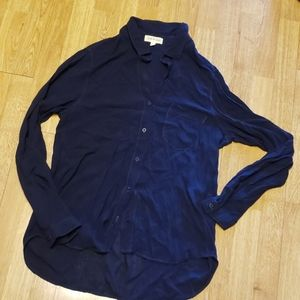 Cloth & Stone navy blue long sleeve button down L